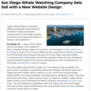 Legacy Whale Watch in San Diego worked with Rosemont Media to create a new website.